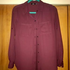 Apt 9 wine colored roll tab blouse